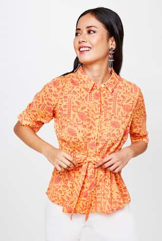 GLOBAL DESI Women Floral Print Tie-Up Waist Shirt