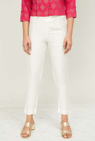 W Women Solid Ankle-Length Straight Pants