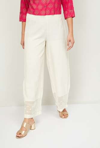 W Women Solid Elasticated Flared Pants