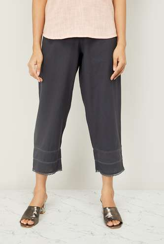 MELANGE Women Cropped Straight Pants with Bobble Trim
