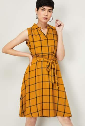 FAME FOREVER Women Windowpane Checked Sleeveless A-Line Dress