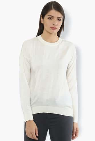 VAN HEUSEN Women Patterned Knit Round-Neck Sweatshirt
