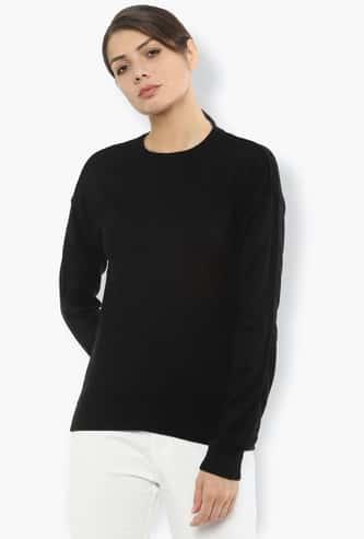VAN HEUSEN Women Solid Round-Neck Sweatshirt