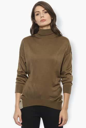 VAN HEUSEN Women Solid High-Neck Sweatshirt