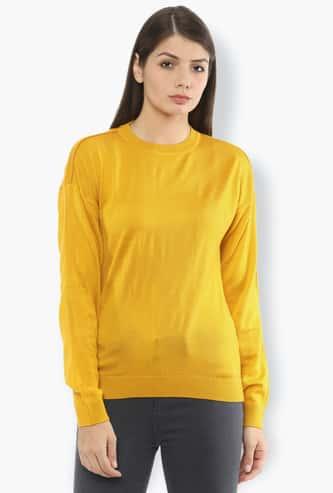 VAN HEUSEN Women Patterned Knit Drop-Shoulder Sweatshirt