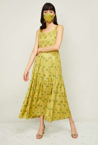COLOUR ME Women Printed Maxi Dress with Mask