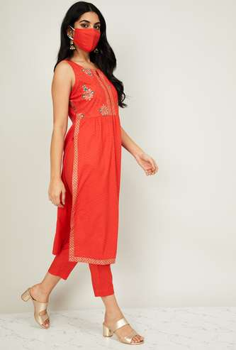 MELANGE Women Printed Straight Kurta with Cropped Pants with Mask