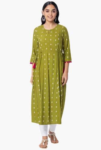INDYA Women Printed Three-Quarter Sleeves Kurta