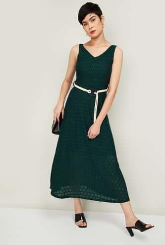 CODE Women Patterned Weave Sleeveless Midi Dress