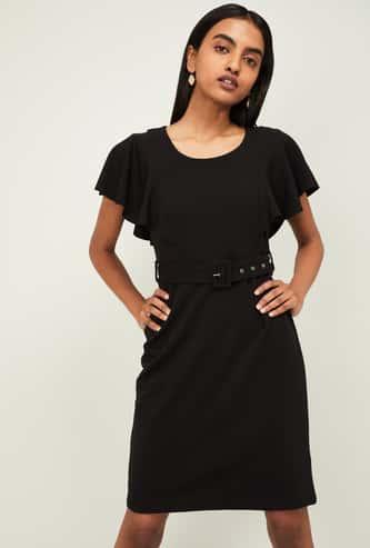 CODE Women Solid Short Flutter Sleeves A-line Dress