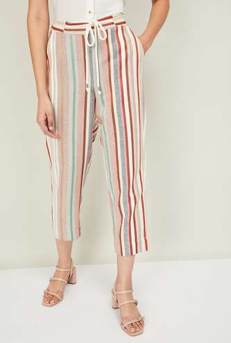CODE Striped Tapered Cropped Pants with Scoop Pockets
