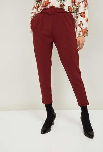 GINGER Women Solid Pleated Trousers