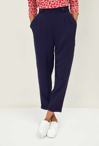 GINGER Women Solid Peg Trousers