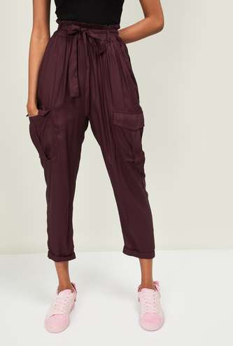 GINGER Women Solid Elasticated Cargo Trousers