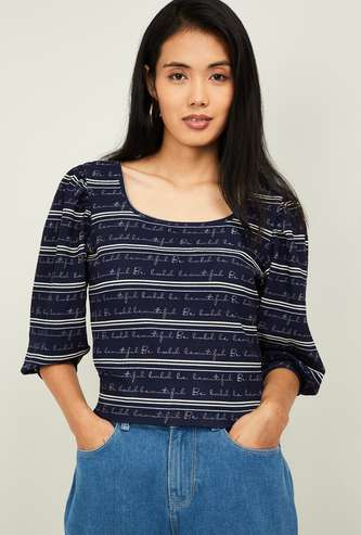 GINGER Women Typographic Print Striped Top with Bishop Sleeves