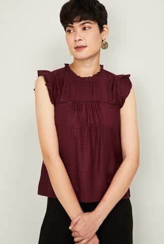 GINGER Women Textured Sleeveless Top