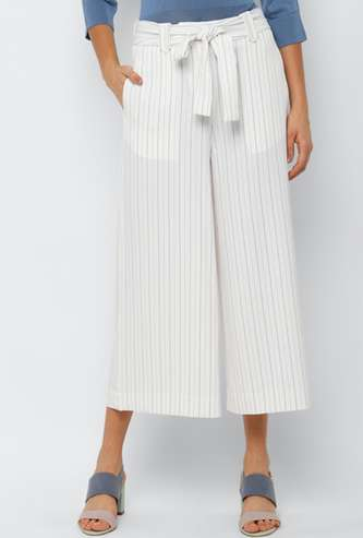 ALLEN SOLLY Women Striped Elasticated Palazzos