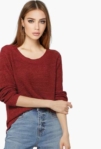 ONLY Women Solid Full Sleeves Sweater
