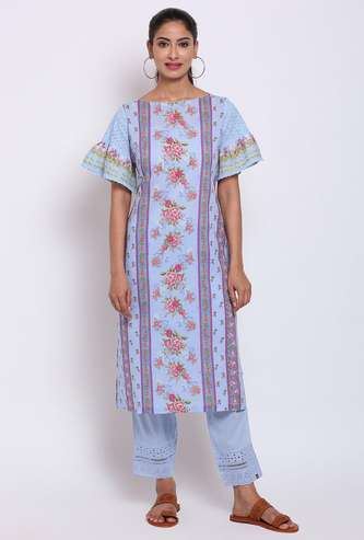 BIBA Women Floral Print Bell Sleeves Straight Kurta