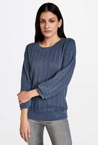 AND Women Textured Round Neck Sweater