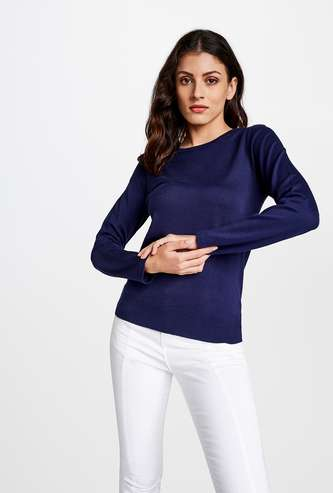 AND Women Solid Full-Sleeves Pullover
