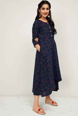 MELANGE Women Checked Three-quarter Sleeves Midi Dress