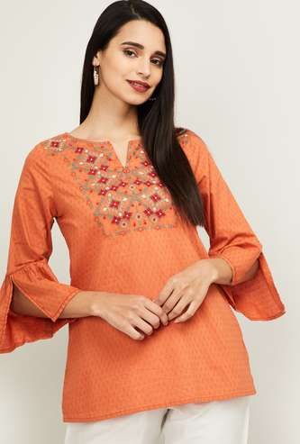 GLOBAL DESI Women Embroidered Bell Sleeves Top