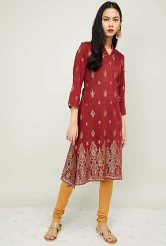 GLOBAL DESI Women Printed Three-quarter Sleeves Kurta