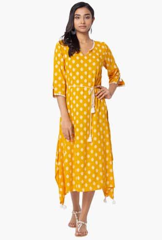 INDYA Women Three-Quarter Sleeves Midi Dress