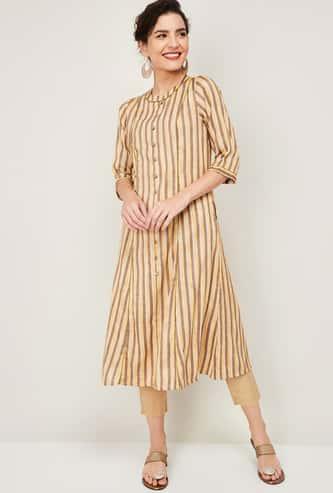 INDYA Women Striped A-line Kurta