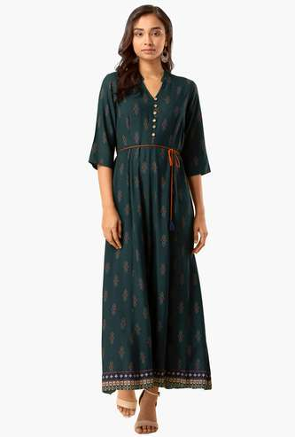 INDYA Women Printed Maxi Dress with Open Collar