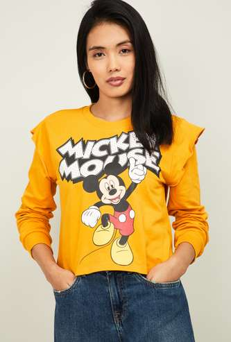 GINGER Women Mickey Mouse Print Sweatshirt