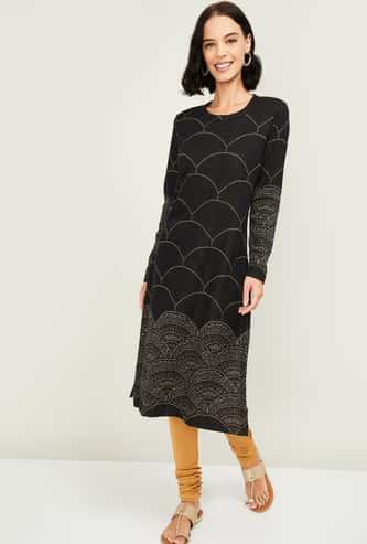 MELANGE Women Printed Full Sleeves Straight Kurta