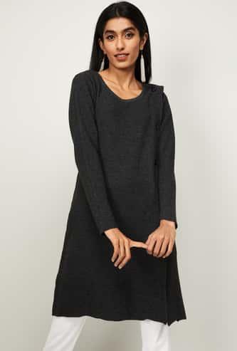MELANGE Women Textured Full Sleeves Tunic