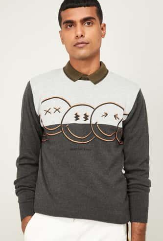 SMILEYWORLD Men Printed Colourblock Sweater