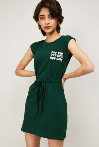 GINGER Women Typographic Print Sheath Dress