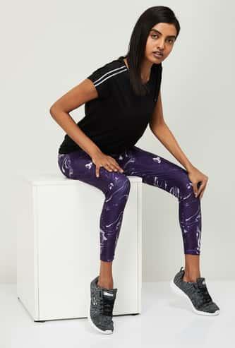KAPPA Women Marble Print Skinny Fit Training Tights