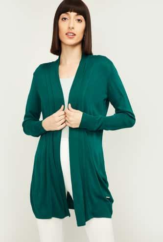 VAN HEUSEN Women Solid Open-Front Knitted Shrug