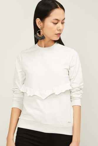 VAN HEUSEN Women Textured Sweatshirt