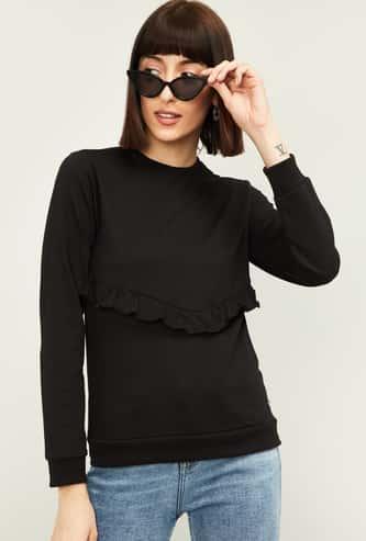 VAN HEUSEN Women Solid Round Neck Sweatshirt