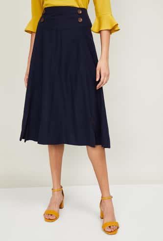 CODE Women Solid A-Line Skirt