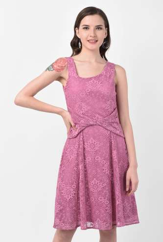 LATIN QUARTERS Women Floral Lace Knotted Fit and Flare Dress