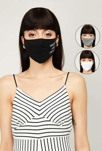 GINGER Women Typographic Print Reusable Masks - Pack of 3