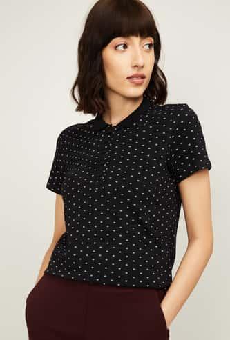 BOSSINI Women Printed Short Sleeves Polo T-shirt