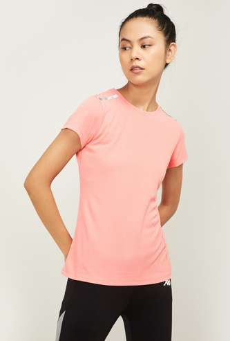 KAPPA Women Solid Regular Fit Round Neck T-shirt