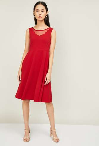 CODE Women Sleeveless Fit and Flare Dress with Sheer Panel
