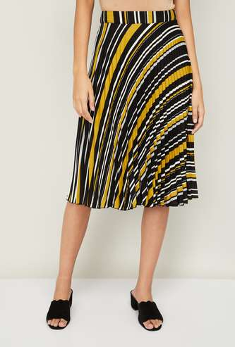 CODE Women Striped Accordion Pleat Skirt