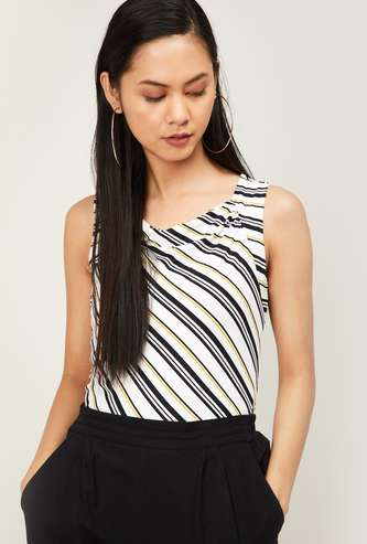 CODE Women Striped Sleeveless Top