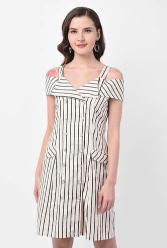 LATIN QUARTERS Women Striped Cold-Shoulder Sheath Dress