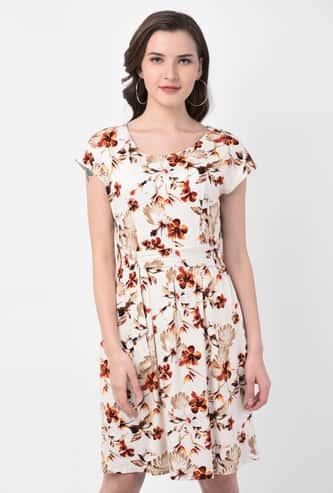 LATIN QUARTERS Women Floral Print Sheath Dress with Sash Tie-Up